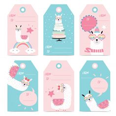 Tag and label with head, cake, star, heart glasses and bubble Premium Vector Happy Birthday Images, Birthday Pictures, 10e Anniversaire, Sofia The First Birthday Party, Llama Birthday, Cute Journals, Paper Crafts Origami, Gift Tags Printable, Hang Tags