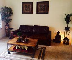 Leather sofa quan yin and chess set