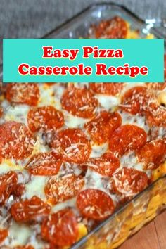 Easy Pizza Casserole Recipe This smooth pizza casserole recipe is a kid pleaser. My whole circle of r. Meatloaf Recipes, Chili Recipes, Crockpot Recipes, Cooking Recipes, Pizza Recipes, Crockpot Dishes, Recipes Dinner, Vegetarian Recipes, Chicken Parmesan Recipes
