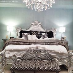 Royal Fortune Montespan Bed in Silver Leaf & White Silk by Fabulous and Baroque