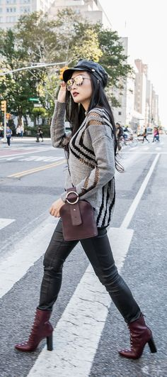 Burgundy Outfits That Always Work | Of Leather and Lace - Fashion Blog by Tina Lee | Burgundy outfit ideas, burgundy boots, burgundy bag, grey and black outfit, outfits for fall, outfit ideas for women, style inspiration, style blogger, fashion blogger