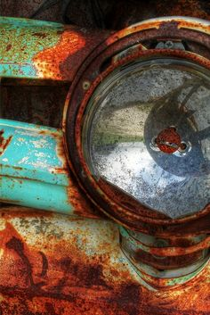 Nature's Graffiti: Headlight Rust Photography Vintage car