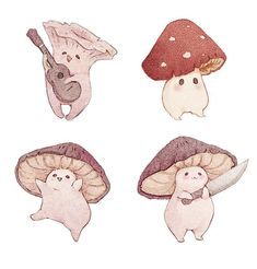 "fairydropart: ""I updated my Redbubble New prints, stickers, stationary and other goodies! Here's the link to my design page Thank you! Mushroom Art, Mushroom Drawing, Illustration Art, Illustrations, Aesthetic Art, Cute Drawings, Cute Art, Art Sketches, Animal Sketches"
