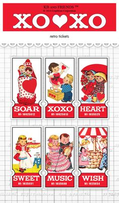 Digital retro children tickets / Valentine ephemera / collage sheet / three sizes / downloadable, printable / red