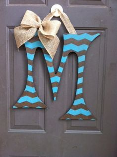 Large Initial Door Hanger with Burlap Accent ~ Love the Turquoise