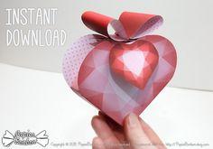 Bienvenue et merci de votre visite sur PapierBonbon Boîtes cadeau coeur Cœur de diamant  (Printable) - pour la Saint Valentin, un mariage ou