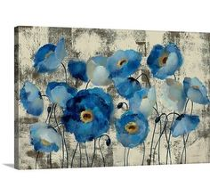 Simple garden style gets a contemporary refresh with this simply breathtaking giclee canvas print, featuring subtle typography and a bold, abstract floral motif in cool blue hues. As a chic focal point in the dining room, try hanging this bold design over a clean-lined wood sideboard, then arrange nickel-finished candleholders and mod accents to complete the look. For a striking and eclectic gallery wall display, set this design with in a cluster of other abstract prints and bold Rothko…