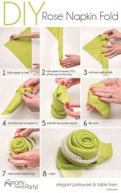 50 Attention-Grabbing Napkin Folding Ideas that You Cannot Overlook For the forthcoming festival season, learn how to fold napkins in unique shapes like hats, shirt, flowers etc. Explore creative napkin folding ideas here. folding ideas with rings Napkin Folding Rose, Napkin Rose, Napkin Rings, Folding Napkins, How To Fold Napkins, Linen Napkins, Cloth Napkins, Paper Napkins, Decoration Communion