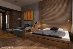 Free architects small living room with a bed Small Living, Living Spaces, Living Room, Arch Interior, Interior Design, Small Space Solutions, Cool Walls, Lofts, Contemporary Interior