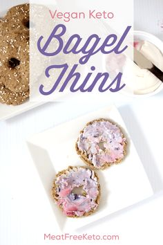 Low Carb Vegan Bagel Thins Meat Free Keto these gluten free nut free paleo and ketofriendly bagel thins toast up nice and crispy and a perfect compliment to cream chees. Vegan Keto Diet, Vegan Keto Recipes, Vegetarian Keto, Ketogenic Recipes, Veggie Keto, Diet Recipes, Protein Recipes, Vegan Foods, Lunch Recipes