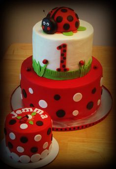Lady bug 1st bday with smash cake - covered in buttercream icing with fondant decorations , lady bug is fondant covered Styrofoam ball