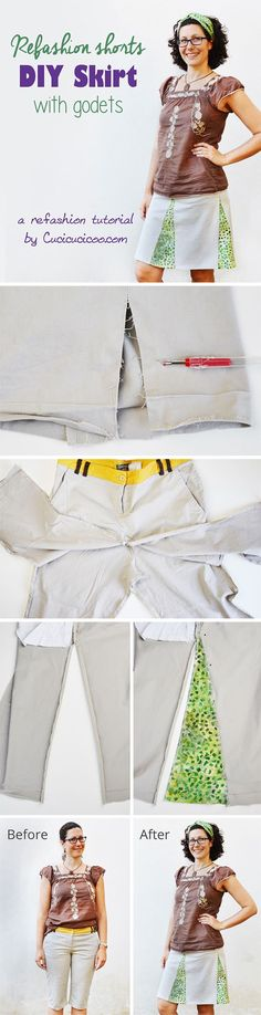 """Got old shorts that don't look good? Refashion them into this DIY skirt with godets, and you'll start wearing it all the time! A great """"new"""" garment for FREE!"""