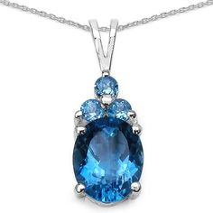 Olivia Leone Sterling Silver 3 5/8ct London Blue Topaz and Swiss Blue Topaz Pendant