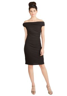 Go-To Gorgeous Dress. Effortless elegance is yours when you slip into this ruched black dress! #black #modcloth