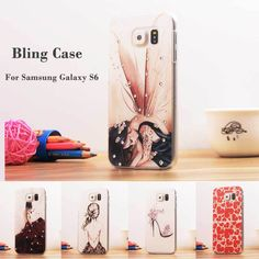 Luxury Bling Fashion Rhinestone Painted Relief 5.1For Samsung Galaxy S6 Case For Samsung Galaxy S6 G9200 Cell Phone Case Cover