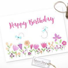 Happy Birthday Meadow Card by Rebecca Stoner