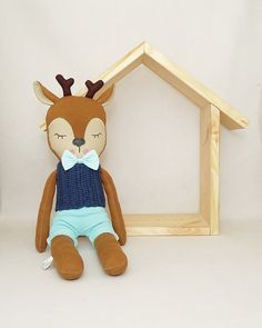 MiMiu deer soft toy with removable outfit. Deer toy & decoration, for kids