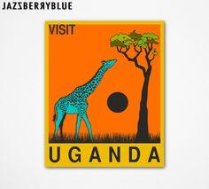 Visit Uganda Art Print by Jazzberry Blue Pop Art Posters, Travel Posters, Art Pop, Animal Art Prints, Fine Art Prints, Africa Art, African Tribes, Retro Pop, Photographic Prints