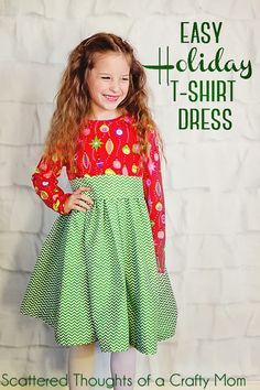 This style dress is easy to make, especially if you're using a ready made t-shirt you already have.  The skirt width is double the width of...