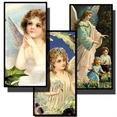 Victorian Angels Digital Collage Prints 1x2 microscope slides
