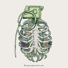 .                                                                                                    Grenade Garden  Illustrations daily #81  HUEBUCKET.COM/FACEBOOK/TWITTER/SHOP/Etsy