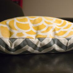 Hand-painted reversible Yellow Chrysanthemum/Grey Chevron pillows for bedroom or the couch- hmmm...