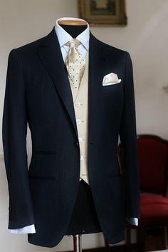 "sartoriacresent: "" COSTUME FOR A GROOM SUPER150's DARK BLUE SUIT + IVORY IRISH LINEN WAISTCOAT """