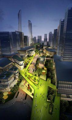 ♂ Futuristic design Southern Island of Creativity / Chengdu Urban Design Research Center #landscapearchitecture Times Square