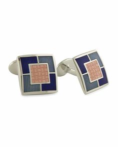 Multi-Square Cuff Links, Pink by David Donahue at Neiman Marcus.