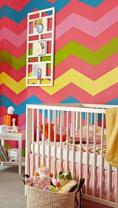 What a bright and beautiful chevron paint job for a baby's room!