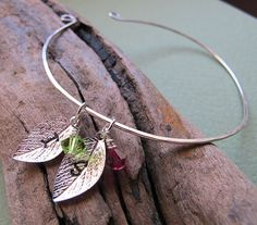Items similar to Leaf Charm Cuff Bracelet - Personalized Bangle Bracelet - Two Initial Birthstone Leaf Bangle Cuff - Leaves Charms Bracelet - initials cuff on Etsy Silver Bangle Bracelets, Bangles, Swarovski Pendant, Engraved Jewelry, Personalized Charms, Birthstone Charms, Initial Charm, Birthstones, Initials