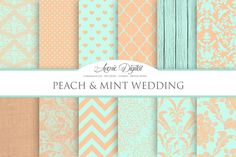 Peach and Mint Wedding Papers by AvenieDigital on Creative Market