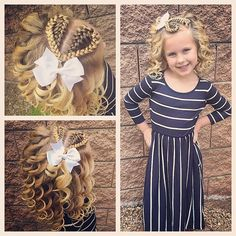 All ready for church with this fun 💗 hairstyle and curls! She& also wearing her new dress from so cute and comfortable! Teen Girl Hairstyles, Princess Hairstyles, Crown Hairstyles, Cute Hairstyles, Braided Hairstyles, Natural Hair Styles For Black Women, Short Hair Styles, Girl Hair Dos, Little Girl Braids