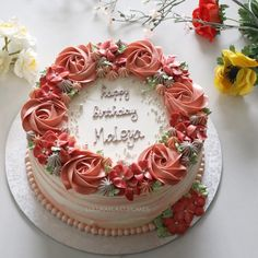 Birthday Cake For Women Simple Flower Ideas Buttercream Birthday Cake, Buttercream Flower Cake, Cake Icing, Cupcake Cakes, Cupcakes, Birthday Cake For Women Simple, 12th Birthday Cake, Whipped Cream Cakes, Instagram Cake