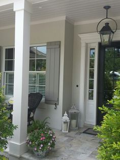 Exterior Front Door Color - 7020 Black Fox on front door. SW 7015 repose gray on body of house, sw 7018 dovetail on shutters and sw 7020 black fox on front door with all trim in SW 7014 Eider White Green Exterior Paints, Exterior Paint Colors For House, Grey Exterior, Paint Colors For Home, Exterior Colors, Exterior Design, Paint Colours, Exterior Shutters, Stucco Colors
