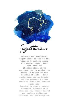 Watercolor print of Sagittarius zodiac constellation and star-sign traits. Available in three sizes (see drop-down box). Artwork is printed on cardstock paper with high quality ink. Your artwork will ship well protected. Come see me on Instagram @northerlygoods