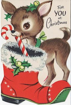 Vintage Christmas card, cute deer w/ candy cane & boot.  #christmas #vintage #retro #card #illustration #kitsch