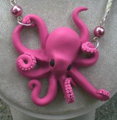 Pink Polymer Clay Octopus Necklace:                                                                                                                                                                                 More