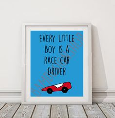 Printable race car poster for boys room  baby boy by BAMdesignshop