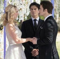 ImageFind images and videos about wedding, the vampire diaries and tvd on We Heart It - the app to get lost in what you love. Serie The Vampire Diaries, Vampire Diaries Seasons, Vampire Diaries The Originals, Michael Malarkey, Michael Trevino, Stefan And Caroline, Caroline Forbes, Stefan Salvatore, Popular Book Series
