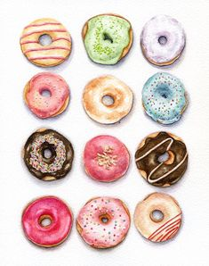 Doughnuts ORIGINAL Painting Still Life Kitchen por ForestSpiritArt