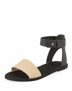 S03R7 Vince Sawyer Flat Ankle Sandal, Cappuccino/Black