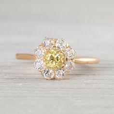 Antique Victorian Yellow Diamond Engagement by ErstwhileJewelry