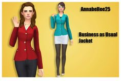 """annabellee25: """" Heya guys, some more new CC,i separated a jacket from a BG mesh, took the necklace away and made it more fitting around the waist. Hope you guys like it """"Business as Usual"""" Jacket • Standalone Item • 24 swatches • Ea's Mesh edited by..."""