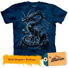 T-Shirts The Mountain Skull Dragon Mythical Flying Reptile Fire Skeleton Shirt Skeleton Shirt, Tee Shirt Homme, Quality T Shirts, Sport, Tshirts Online, Cotton Tee, Graphic Tees, Shirt Designs, Classic T Shirts