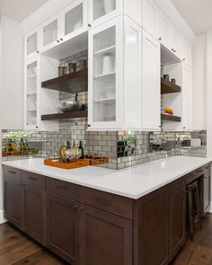 Adding some spice to the Butler's Pantry. Mirrored backsplash Subway tile with stained floating shelves. Mirror Backsplash, Mirror Tiles, Subway Tile, Butler, Floating Shelves, Pantry, Spice, House Ideas, Kitchen