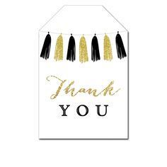 Thank You Tags - Black Gold Glitter Tassel - Favor Tags Wedding Bridal Baby - Instant Download Printable