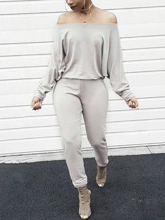 Lovely Casual Dew Shoulder Blending Grey One-piece Jumpsuit Our shopping destination for fashion online. We offer fashion and quality at the best price in a more sustainable way. Off Shoulder Jumpsuit, Jumpsuit With Sleeves, Look Fashion, Fashion Outfits, Womens Fashion, Cheap Fashion, Fashion Ideas, Fashion Beauty, Fashion Trends