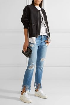 3x1 | WM3 Crop Fringe distressed mid-rise straight-leg jeans | NET-A-PORTER.COM