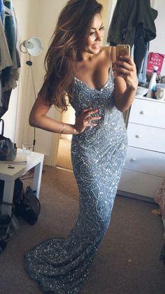 Mermaid Prom Dresses, Blue Prom Dresses, Long Prom Dresses, Dresses For Prom, Sparkly Prom Dresses, Blue Mermaid Prom dresses, Mermaid dresses Prom, Prom Dresses Blue, Prom Dresses For Teens, Dresses For Teens, Spaghetti Straps Long Blue V-neck Sparkly Mermaid Prom Dresses For Teens